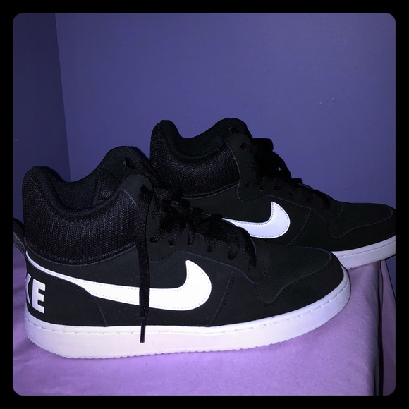 high top black and white nikes